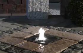 Фонтан в плите - отделка из мрамора