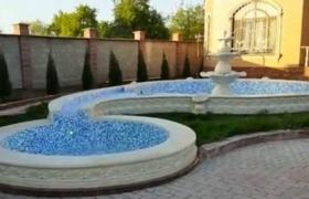 Большой двухсекционный фонтан из гранита