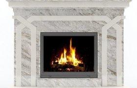 Камин - сочетание мрамора Crystal White и Golubaja Reka