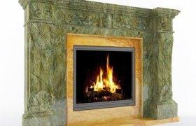 Мраморный камин Бардже Бидасар Грин и Йеллоу