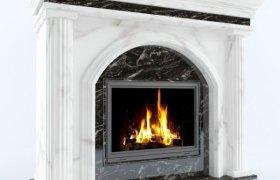 камин Коллезалветти из мрамора Alabama White и Forest Black