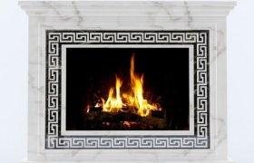 камин Никелино из мрамора Alabama Whait и Black Forest