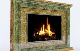 Камин Никелино - мрамор Bidasar Green и Bidasar Gold