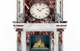 Камин с часами мрамор Россо Леванто и Алабама Вайт
