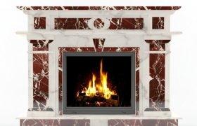 камин Сиракуза из мрамора Rosso Levanto и Alabama White