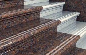 гранитная лестница, выполненная в двух цветах
