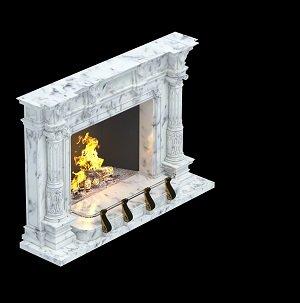 камин с прямоугольным порталом и ограждением