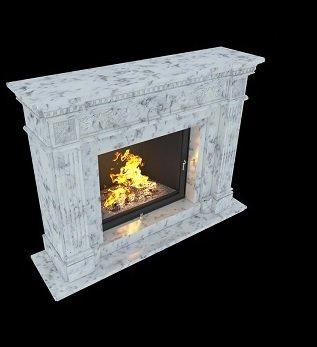мраморный камин с прямоугольными колоннами