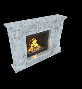 камин из белого с вкраплениями черного цвета мрамора