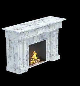 белый камин с широким порталом из мрамора