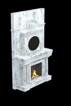 камин с часами из натурального мрамора
