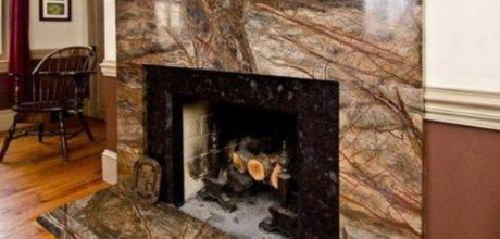 Мраморный камин из коричневого мрамора