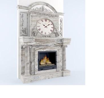 Мраморный камин с часами Фентези Браун