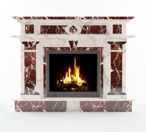 Камин мраморный Сиракуза Rosso Levanto и Alabama White